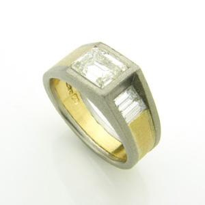 Palladium & 18ct Gold Gardeners Ring set with re-used diamonds