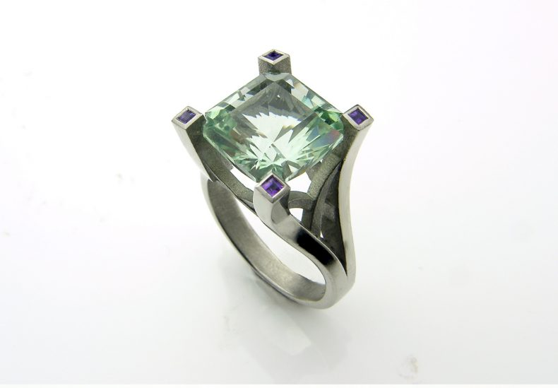 Green Amethyst & Palladium Ring