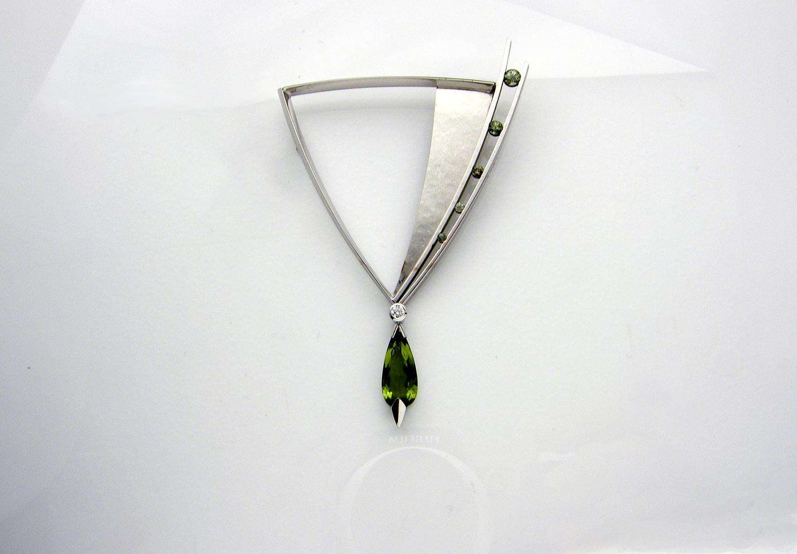 Green Tourmaline & Sapphire Brooch