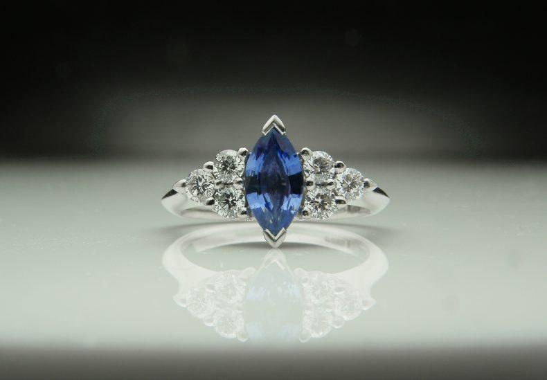 Marquise Sapphire & Diamond Platinum Ring