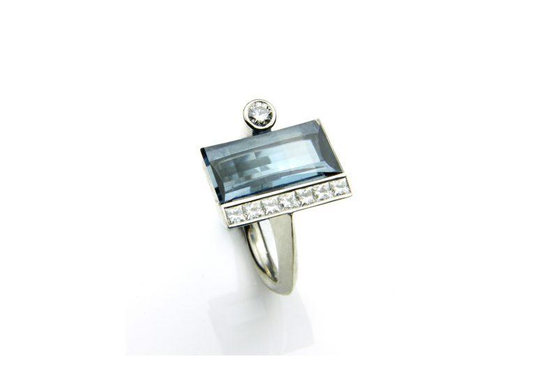 Grey Tourmaline & Diamond Palladium Ring